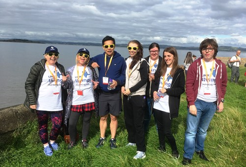 LinkLiving staff and service users during the Kiltwalk